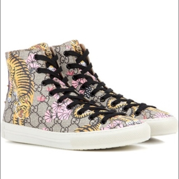 new styles 2230f 3ea96 Gucci high top bengal tiger sneaker beige pink 37